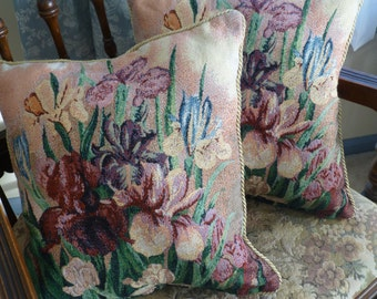 "Two Vintage French Tapestry Cushion/ Pillow Covers Shams ""Irises""  15"" x 15"""