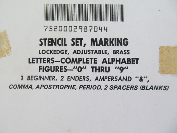 Brass stencil set marking lockedge 23939 letters and for Metal stencil set letters