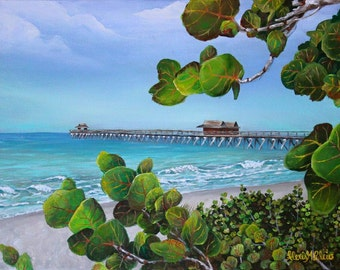 """ORIGINAL Naples Pier Painting - Ready To Ship and FRAMED- 11"""" x 14"""" - Acrylics on Canvas - By Alexis Martinez Puleio"""