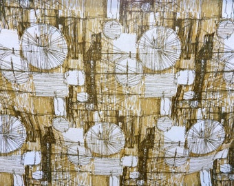 Vintage barkcloth 50s / 60s longdrop curtains x 2 - atomic with a maritime inspired abstract pattern - neutral colours