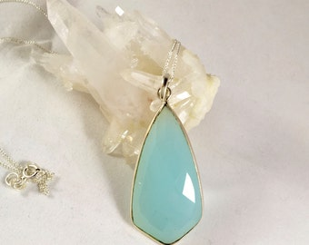 Aqua chalcedony pendant. Chalcedony necklace. Gemstone necklace. Designer necklace. Jewellery. Jewelry. Blue chalcedony. Sterling silver