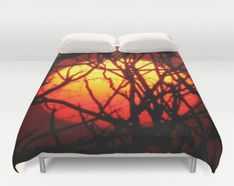 Sunset Photography Red Duvet Cover, Queen Comforter Cover, King Size Comforter Cover, King Size Duvet Cover, Queen Size Duvet Covers