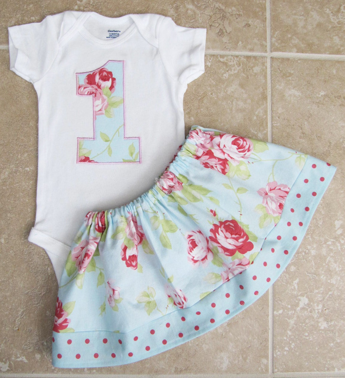 Shabby chic first birthday outfit in blue roses by noellebydesign - Shabby chic outfit ideas ...