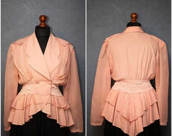Vintage blouse -  jacket with frills / Light pink blouse - jacket / L-XL / 70s