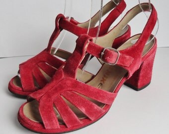 70s Vintage Shoes // Lunik // Slingback // Suede & Leather // Size 37,5 // Made In Portugal