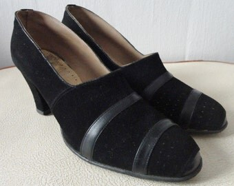 40s Black Suede And Leather Shoes // Size 38