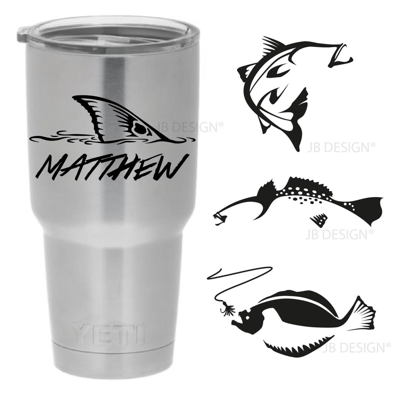 Vinyl decals for yeti or similar style mugs fishing designs for Fishing yeti decal