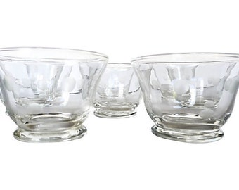 Midcentury Set of 8 etched polka dot clear bar glasses.