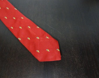 Vintage Men's Red Christmas Necktie with Candy Canes