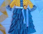 GIRLS EASTER DRESS girls ruffle dress yellow dress gray ruffle skirt sibling matching set brother sister outfits mustard dress modest girl