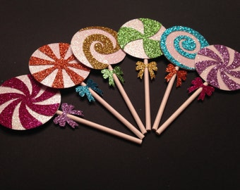 Glitter Lollipop Cupcake Toppers (Candy Land Party, Candy Bar, Glitter Decorations)