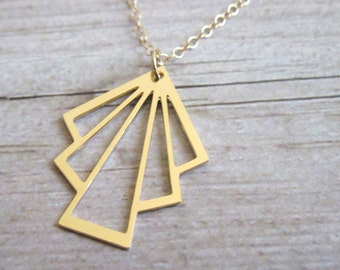 Gold  geometric Necklace , 14K Gold Filled Triangle Necklace , Layered Necklace , Triangle Necklace , Everyday Necklace , Geometric Pendant