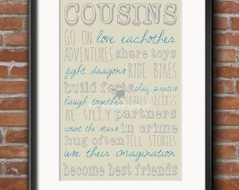 Cousins- Sign- PRINTABLE JPEG FORMAT- Customizable