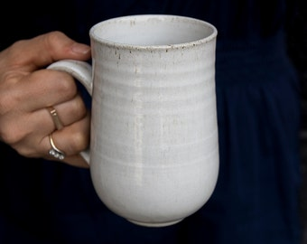 Large Ceramic Mug / White Pottery Coffee Mugs / 14oz / Big Handmade Tea Mug / Hostess Gift / MADE TO ORDER