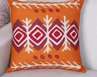 Bohemian Red Orange Diamond Pillow Cover