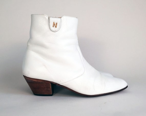 70s Shoes / 70s Leather Boots White Leather Boots Vintage