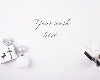 Christmas mock up - Styled stock photography - Overhead white wooden background - High Res Jpeg file