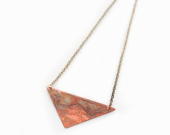 SALE - Mt. HOOD [Triangle] | Mt. Hood Etched onto a Copper Triangle Pendant Necklace