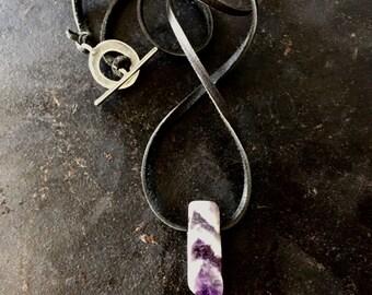 Mens amethyst necklace on a black deerskin leather cord, mens purple crystal, chevron amethyst necklace, amethyst jewelry, amethyst crystal
