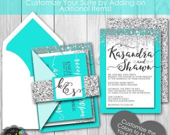 Tiffany Turquoise Blue  Glitter Printable Wedding Invitation Suite