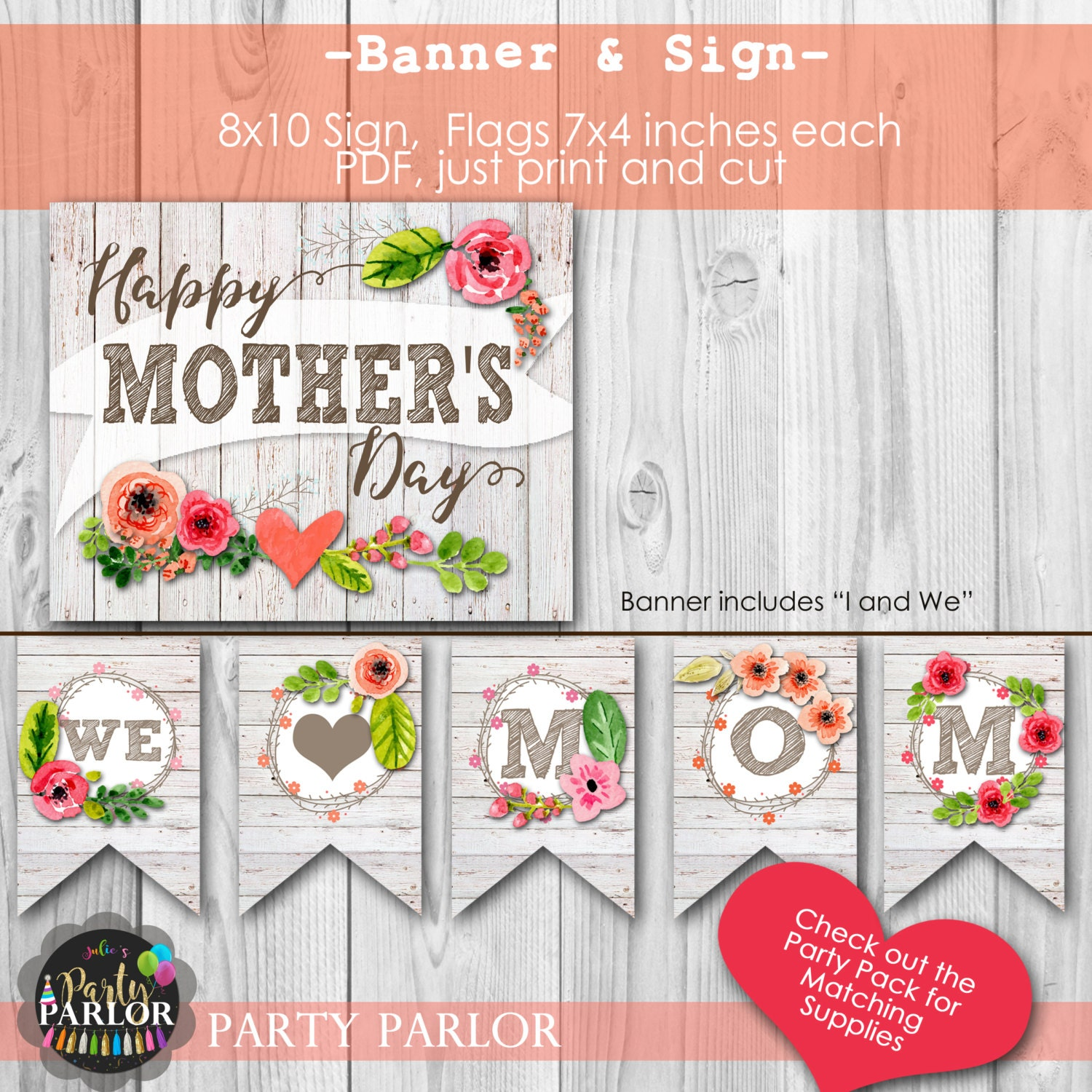 happy mother 39 s day we love mom banner and sign instant. Black Bedroom Furniture Sets. Home Design Ideas