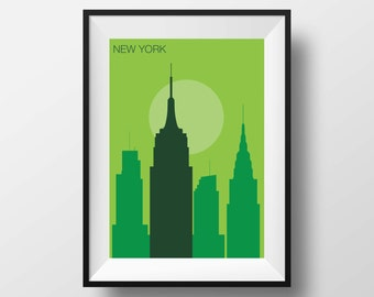 New York print art, New York artwork print poster, New York illustration, New York wall art, New York original gift, home decor cityscape