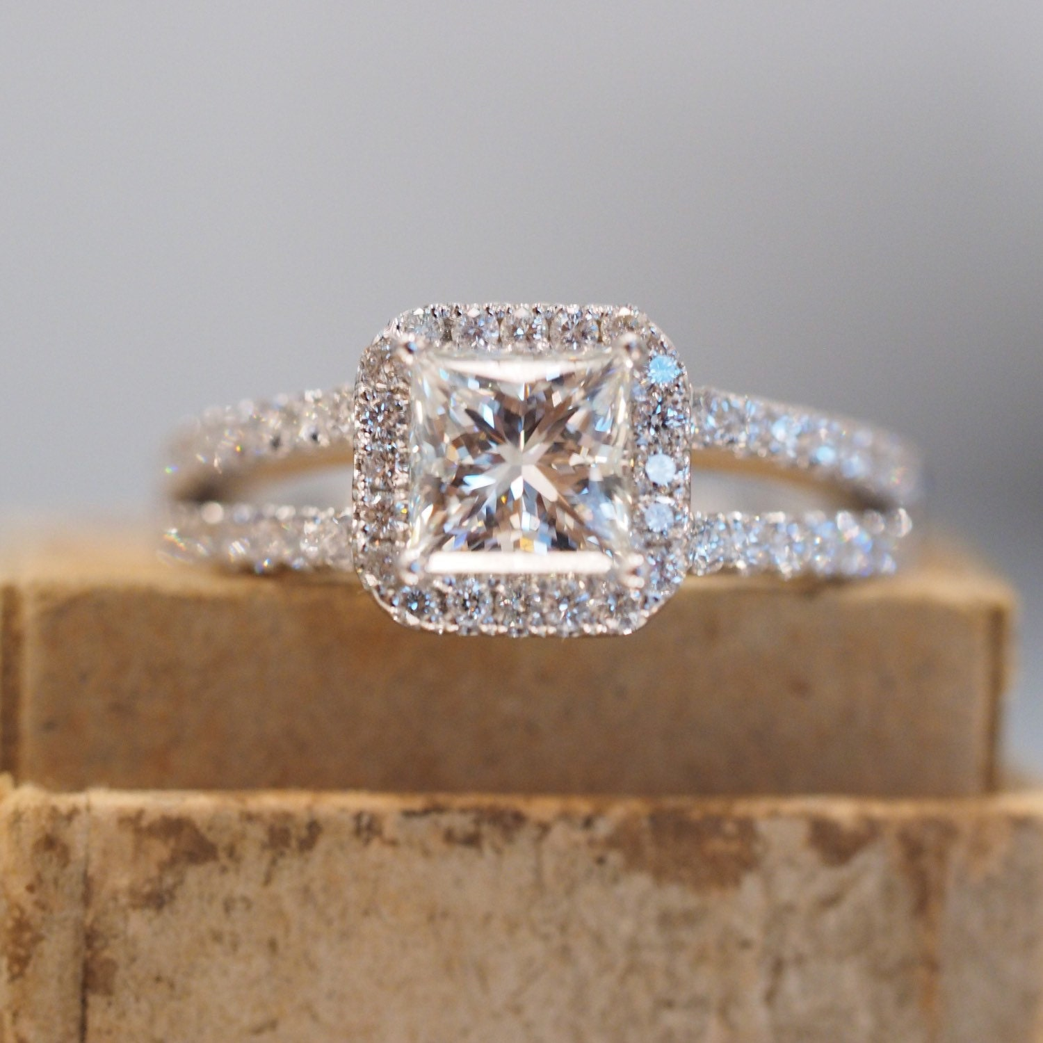 Halo Princess Cut Engagement Ring with Split Shank Band in