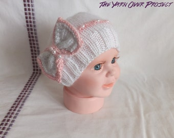 Hand-Knit Pearls and Bow Baby Hat - Knitted Bow Beanie - Beanie Hat for Baby - Newborn Photo Prop