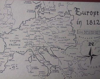 1812 Europe map, hand-drawn