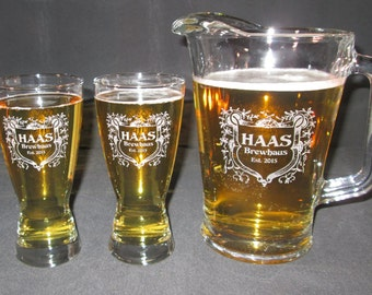 Beer Pitcher Set, Engraved Personalized Hourglass Pilsner & Pitcher Set, Engraved Beer Glass Set, Engraved Beer Pitcher Set,