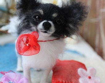 Chihuahua /Custom felted Dog /portrait sculpture dog/Memorial pet replica/small size/sculpture figurine/dog sculpture custom/Pet portrait