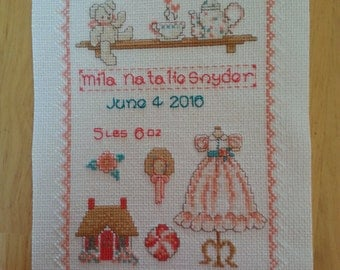 Birth Announcement,  Made to Order, Cross Stitch, Shower Gift, New Baby, Can change colors to match your decor