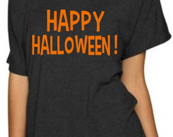 Happy Halloween Glitter Shirt. Funny Halloween Shirt. Ladies Halloween slouchy dolman shirt. Halloween oversized t-shirt.  Halloween Glitter
