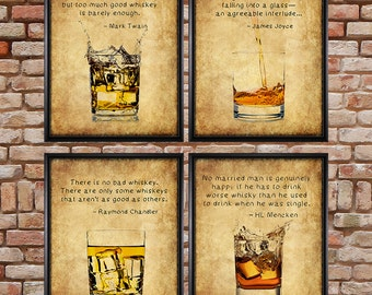 Whiskey Prints - Discounted Set of 4 - Bar Art - Whiskey Posters - Bourbon Scotch - Man Cave Fathers Day #vi500