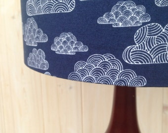 First Light- Clouds in Navy. Fabric covered lamp shade
