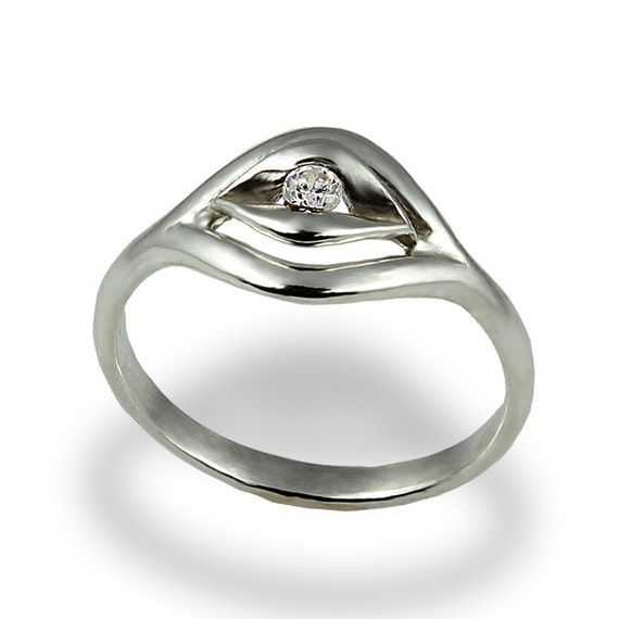 unique solitaire ring engagement ring white gold