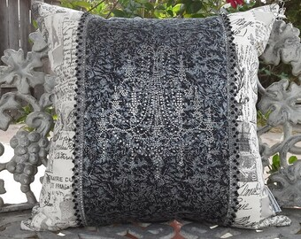 Shabby French black and white decorative pillow with crystal chandelier design, French script pillow with rhinestone crystals, glam decor