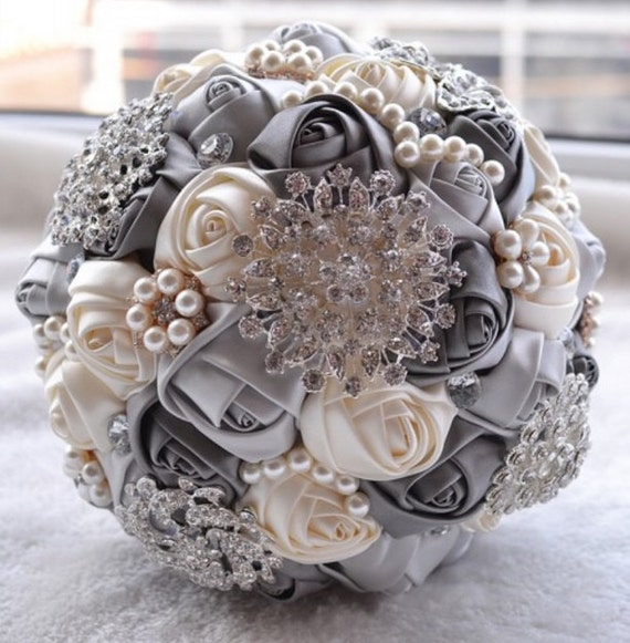 wedding bouquet pins ivory and gray satin bridal bouquet roses pearls crystals 8476