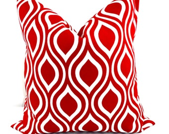 RED Pillow. Outdoor Indoor Pillow cover. Red and White.1 piece.  Stain dirt resistant. Cushion Cover. Select your size