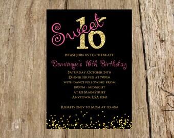 Sweet 16 Milestone Birthday Party Invitation, Digital Printable File, Other milestones available