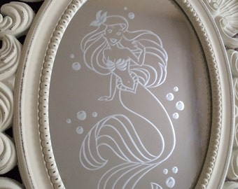 Stunning Hand Engraved Ariel The Little Mermaid Mirror!