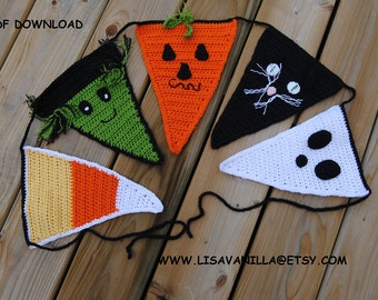 Halloween Bunting Pattern/ Crochet/ Pumpkin/ Witch/ Ghost/ PDF Download