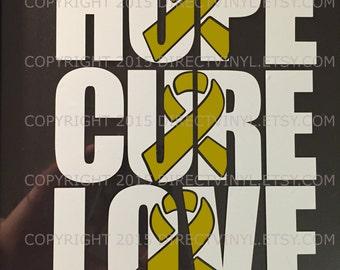 CHOOSE ONE Metallic Gold Awareness Ribbon Knckout Decal (Childhood Cancer, Neuroblastoma, copd, Rhabdomyosarcoma)