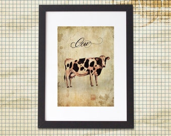 Vintage Cow Art A4 or A5 Print  Farm Country Land Kitchen Study Nursery Bedroom Friesian  Rural Children
