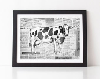 Cow on Rural Report Newspaper Collage A4 Print Farm Farmer Country Land Kitchen Study Nursery Bedroom Friesian Green Rural Children