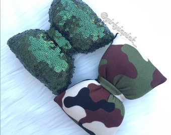 Army green pillow bows