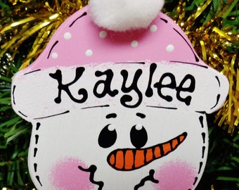 Pink Hat U CHOOSE NAME & YEAR Personalized Snowman Christmas Ornament Kids