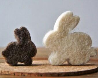 Yin yang rabbits; felted animals