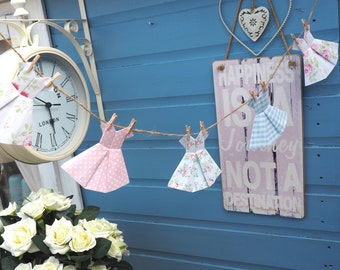 Vintage Shabby Chic Floral Cath Kidston Pretty Paper Dress Bunting Garland Home Decor Nursery Baby Shower Christening