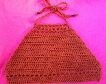 SALE Crochet halter neck crop top in a lovely copper colour